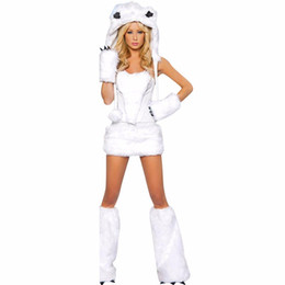 36012ffd116ac Ladies Women's Sexy Warm Furry Polar Bear Costume Animal Cosplay Fancy Dress  Party Halloween Costume Sex Role Playing Game