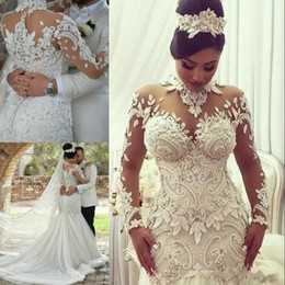 haute mermaid dress 2019 - Azzaria Haute Mermaid Long Sleeves Wedding Dresses 2018 Illusion Nigeria High Neck Appliqued Beaded Dubai Arabic Castle