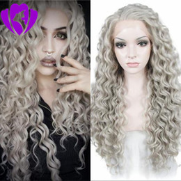 $enCountryForm.capitalKeyWord Australia - Free part Kinky Curly Afro Hair Wigs grey Color Synthetic Lace Front Wig Long For Black Women Daily Use 180% Heavy Density Heat Resistant