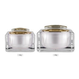 Discount acrylic cosmetic jar white - 15g 30g White black Acrylic Cream Jar Empty Cosmetic Bottle Container Jar Square cream Bottle fast shipping F20173496