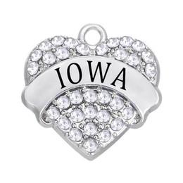 $enCountryForm.capitalKeyWord Australia - Personalized Simple Rhinestone Crystal Heart Pendant IOWA Label Metal Charm FIT DIY City Jewelry Necklace Bracelet