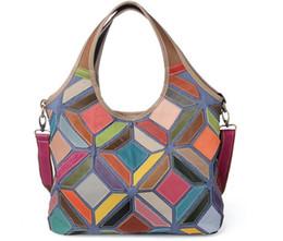 Discount multi pocket bags - 2017 patchwork genuine leather women's Hobos bag big cow leather shoulder bag