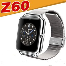 Bluetooth smart watch mais novo luxo homens z60 smart watch aço inoxidável banda de metal para ios suporte android sim tf cartão câmera venda por atacado