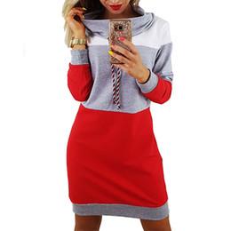 5591d66231 Vestidos de otoño invierno cuello alto de manga larga chándal Vestido de  las mujeres más el tamaño de la sudadera con capucha de rayas a rayas  vestido Robe ...