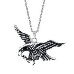 Biker necklaces online shopping - Men Flying Eagle Pendant Necklaces Stainless Steel cm Link Chains Vintage Animal Hawk Neck Lace Hiphop Rock for Male Biker Fashion Jewelry