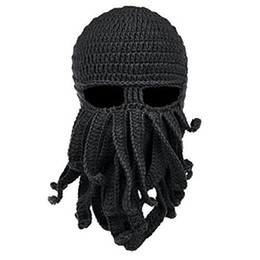 Handmade Funny Tentacle Octopus Cthulhu Knit Beanie Hat Cap Wind Mask Men's Women's Knit Wind Mask Cap Halloween Animal Gift