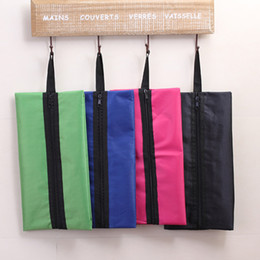 Simple cloth bagS online shopping - Oxford Cloth Storage Bags With Handle Zipper Folding Waterproof Shoes Bag Simple Square Travel Pouch Factory Direct Sale rj B