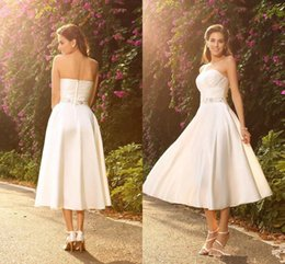Strapless Satin Short Wedding Dresses Australia - 2018 Tea Length Wedding Dresses With Pleats Beads Crystal Sash Short beach country strapless Wedding Dresses vestido