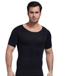 Wholesale New seamless upgrade Men s Slimming Tummy Body Shaper Belly Fatty Thermal slim lift Underwear Sport T Shirt Corset Shapewear