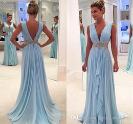 Holiday Evening Gowns Floor Length Australia - 2018 Light Sky Blue Evening Dress Deep V Neck Long Formal Holiday Celebrity Wear Prom Party Gown Custom Made Plus Size