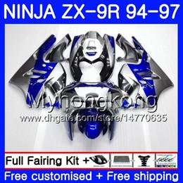 Zx9r 94 Fairing Kits Australia - Body For KAWASAKI NINJA ZX900 ZX 9R 1994 1995 1996 1997 Blue silvery hot 221HM.34 ZX 9 R 900 900CC ZX-9R 94 97 ZX9R 94 95 96 97 Fairing kit