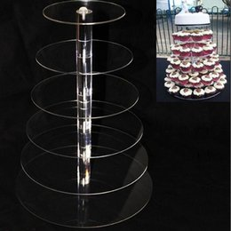 cupcake display tier NZ - 5pcs 6 Tier Acrylic cupcake stand Round Cake Stands for Wedding Party Cake Display Decoration cupcake holder