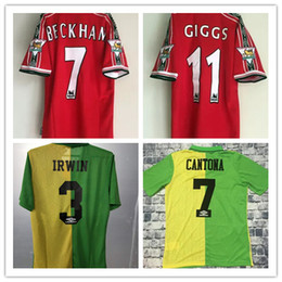 cd49c2ce5 1998 1999 home red 92 94 away green BECKHAM CANTONA Retro Jersey old Shirts  Classical Jersey 98 99 Scholes G.Neville ANDY COLE HOME Jerseys