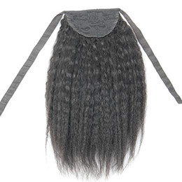 "China Human Hair Ponytail Extensions Drawstring 14"" 100% Real Remy Premium 120G Kinky Straight Yaki Human Hair Hairpiece Binding Pony Tail cheap remy hair pony tail suppliers"