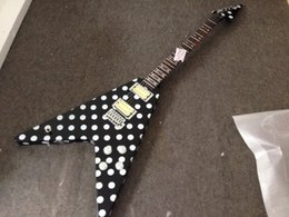 Chinese  Good Sound Randy Rhoads Tribute Polka dot Flying V electric guitar metal pickups rings manufacturers