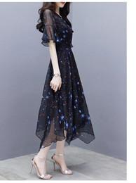 Discount skirt stars - Irregular Mesh Gauze Summer Skirt Star Print Dreamlike Black Flare Sleeve Dress Long Chiffon New Fashion Shirt Collar Sh