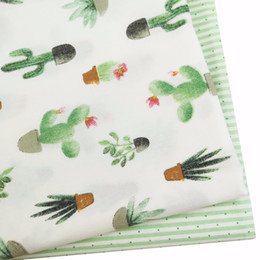 $enCountryForm.capitalKeyWord Canada - Green cactus Cotton twill clothes print check fabric DIY kid sewing patchwork cushion handwork quilting tissus tecidos an meter