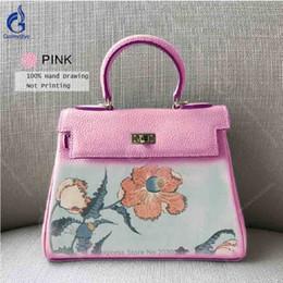 $enCountryForm.capitalKeyWord NZ - Real Genuine Leather Bags Luxury Design Art Hand Painted Graffiti Personality Flower Handbag Fashion Shoulder Customize Bags Pink Gray
