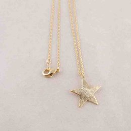 Clip Charms Free Shipping Australia - Wholesale 10Pcs Lot Silver Gold Color Planar Equiangular Five Pointed Star Pendant Necklaces Clip On Charms Free Shipping