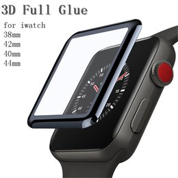 Wholesale black films online shopping - 3D Curved Full Glue Tempered Glass For Apple Watch iwatch mm mm mm mm Series Black Screen Protector Film With Retail Package