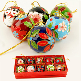 handmade cloisonne filigree christmas tree decoration diy accessories craft hanging ornament chinese traditional handicraft 10pcs lot - Chinese Christmas Decorations