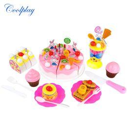 Discount cookware toys - Coolplay 70pcs set DIY Fruitcake Cookware Set Fruit Birthday Cake Children Play House Toys Kitchen Kid Educational Toy