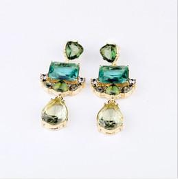 Crystals Souvenir Australia - Classic Style Gold Plated Blue Green Artificial Crystal Diamond Gemstone Dangle Pendant Stud Earrings for Women Lady Girl Souvenir