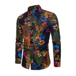 5c6342c626 2018 New Fashion Casual Men Shirt Long Sleeve Europe Style Slim Fit Shirt  Men High Quality Cotton Floral Shirts Mens Clothes
