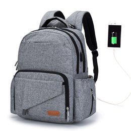 Chinese  Mum Maternity Bag Multi-function Diaper Bag Backpack With USB Interface Nappy Baby Bags with Stroller Straps for Baby Care manufacturers
