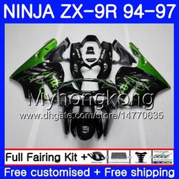96 Kawasaki Zx9r Australia - Body For KAWASAKI NINJA ZX900 Green flames hot ZX 9R 1994 1995 1996 1997 221HM.28 ZX 9 R 900 900CC ZX-9R 94 97 ZX9R 94 95 96 97 Fairing kit