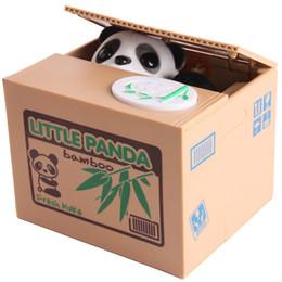 $enCountryForm.capitalKeyWord NZ - Piggy Bank Panda Bamboo Automatic Stole Coin Panda cat Automatic Stealing Coin Saving Money Box Piggy Bank for kids Gift orange box