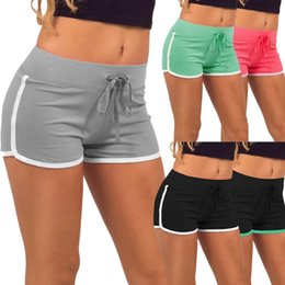 White Cotton Drawstring Pants Women Canada - Sport Fitness Yoga Shorts Drawstring Lace Up Soft Cotton Quick Dry Sports Gym Shorts Women Short Pants