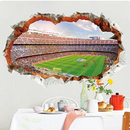 football wall stickers Australia - 3D Stereo Cracked Wall View Football Field Wall Stickers Home Decor Wall Mural Poster Art Living Room Bedroom Office Decor Wallpaper Art