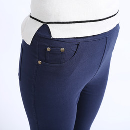 119aedd70b6c6 Women Navy Leggings UK - Plus size office lady casual pant women pocket  zipper fashion skinny