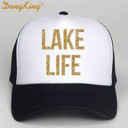 Printed Ball Caps Australia - DongKing Men Women Trucker Cap LAKE LIFE Printed Gold Glitter Letters Cool Black Hats Summer Rock Mesh Net Trucker Hat For Adult