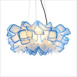 Halogen Pendant Australia - New Design D50 75cm Clizia PC Suspension Lamp Handcraft Colorful Gradient Acrylic Flower Pendant Lights Bedroom Dining Room Hanging Light