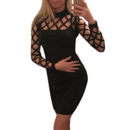 5d96d9cf8f0 Sexy Plus Size Clubwear UK - Explosion Hollow Out Bodycon Women Dress 2018 Long  Sleeve Nightclub