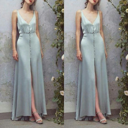 89b6a93696 fancy Baby Blue Evening Dresses Front Buttons Deep V neck Satin Front Slit  sexy formal prom gowns for women designer betra uk ladies