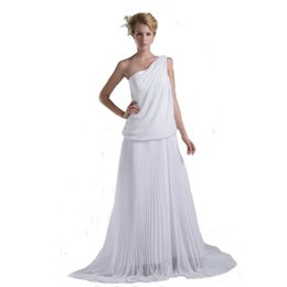$enCountryForm.capitalKeyWord UK - Competitive Price One Shoulder Style Chiffon Wedding Dress A-Line Design Stunning Sweep Train Bridal 2018 Gown
