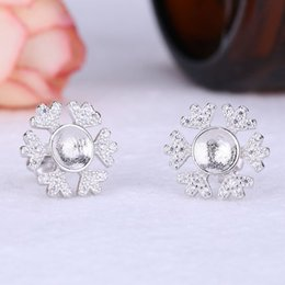 Mounted Stone Set Australia - Fine Silver White Gold Color 925 Sterling Silver Stud Earrings Semi Mount Women Earrings for 6mm7mm8mm Pearl or Round Bead Setting DIY Stone