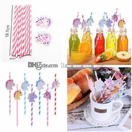 Unicorn Paper Drinking Straw Colorful Straws Birthday Decorations Baby Shower Kids Children Party Favors GGA421 2000PCS