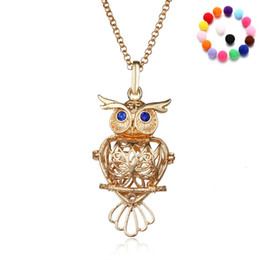 wholesale gold filled inch chains UK - Essential Oil Diffuser Necklace Pendants 31 Inch Chain Hollowed Out Owl Aromatherapy Diffuser Pendants Fashion Jewelry