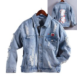 cf704e9a4b06 ABOORUN 2018 Mens Hip Hop Denim Jackets Rose Printed Distressed Ripped  Jeans Jackets Streetwear Mens Spring Autumn Coat x425