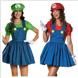 super plumber costume NZ - Halloween women sexy cosplay Super Mario costume festival party supplier Mario Luigi Plumber Bros nuiform girl fancy dress set