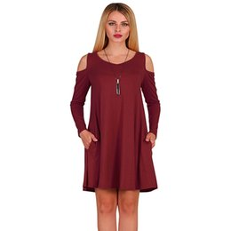 c08bbad88a90 O Neck Long Sleeve Dress Cold Shoulder Dress Causal Tunic Top T-Shirt Loose  Dresses With Pockets Style Swing Hem Robes vestidos