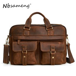 NBSAMENG Genuine Leather Men Messenger Bag Crossbody Bags Casual Totes Leather  Handbags Laptop Bag Shoulder Bags Men Briefcases 589c77cf6e