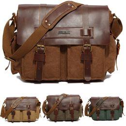 Leather messenger bag men Laptop online shopping - Vintage Satchel Canvas Men Retro Canvas Leather Laptop Vintage Messenger Bag Satchel Briefcase Cross Body Shoulder Bag Free DHL G165S