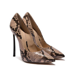 Green Printed Dress NZ - Printed Leather Serpentine Tacones Ladies Sexy Pumps Office Party Dress Shoes Women Plus Size 34-43 Slip On Blade Metal Stilettos High Heels
