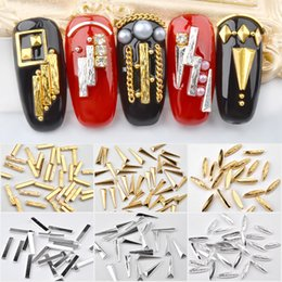 diy nail studs Canada - 10Pcs Lot Gold Silver 3D Nail Decorations Rivets Metal Studs Rhinestone Multi Shaped Design DIY Manicure Nail Art Decoration