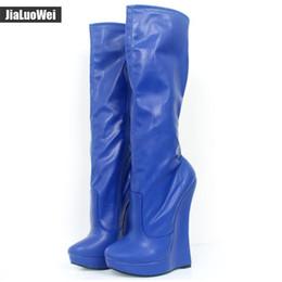 $enCountryForm.capitalKeyWord NZ - Man Cosplay Shoes 18cm Extreme High Heel Wedges 3cm Platform Pointed Toe Women PU Leather Side Zipper Sexy Fetish Knee-High Boots